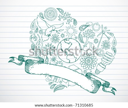 Earth friendly doodles in heart shape with blank banner. - stock vector