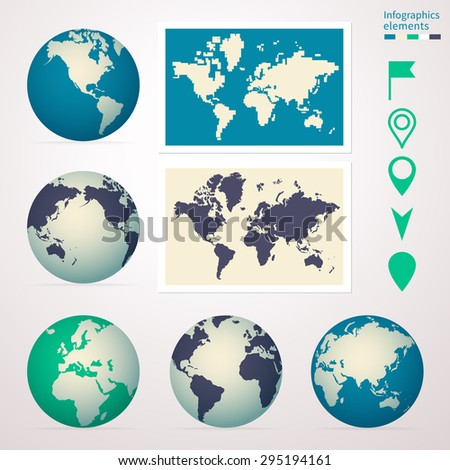 Earth from different angles, pointers to navigate, simple world map for infographics, banners, websites. - stock vector