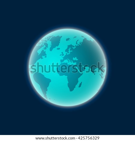 Earth from space vector, planet earth isolated