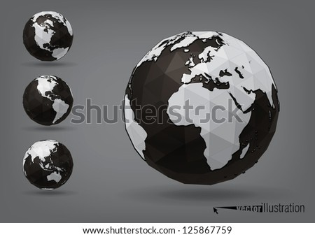 Earth globe as polyhedron - stock vector