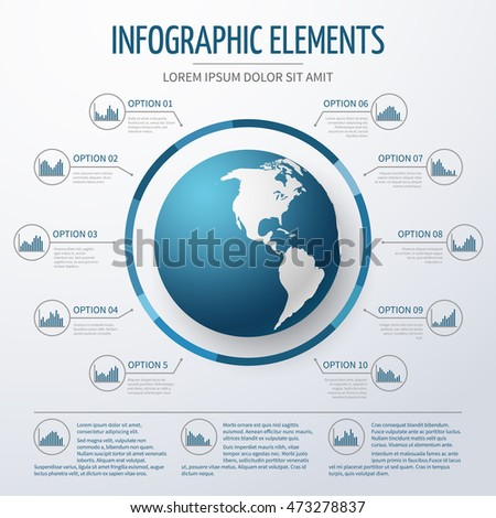 Earth globe 3 d infographic template world stock photo photo earth globe 3d infographic template world map with option numbers and charts for business gumiabroncs Image collections