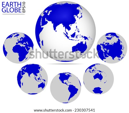 Earth globe, different continents. Vector format of Earth Planet, fully editable, you can change form and color