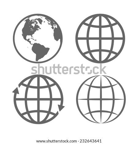 Earth Globe Emblem. Logo Template. Icon Set. Vector. - stock vector