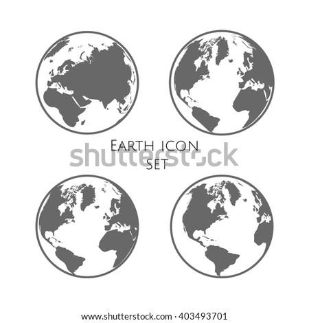 Earth Globe Emblem. Planet Earth  Icon Set. Vector illustration. EPS 10 - stock vector