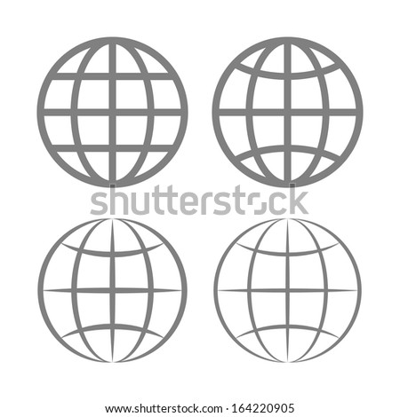 Earth Globe Emblem Set. Vector - stock vector