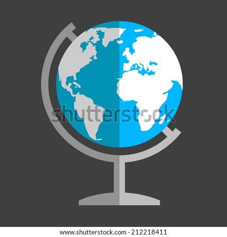 Earth globe flat icon - stock vector