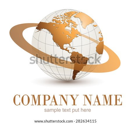 Earth globe, gold planet with dynamic orbit.  - stock vector
