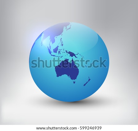 Golden earth globe map australiavector globe vectores en stock earth globe icon with map of australiactor world globe gumiabroncs Gallery