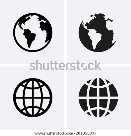 Earth Globe Icons - stock vector
