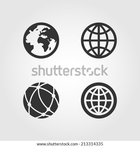 Earth globe icons set, flat design - stock vector