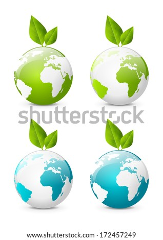 Earth globe icons with green leaves - stock vector