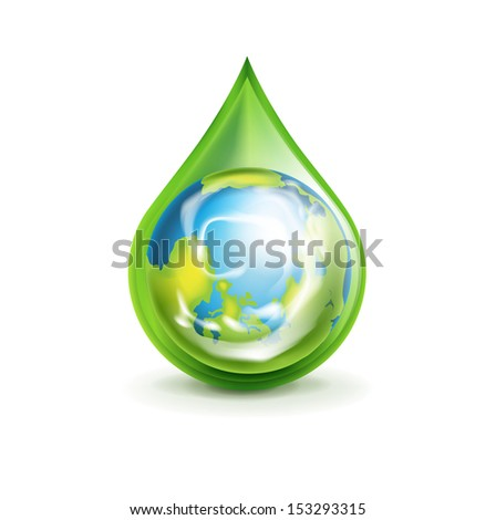 earth globe in green droplet isolated on white - stock vector