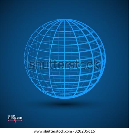 Earth Globe Logo Design Template. Vector Illustration. - stock vector