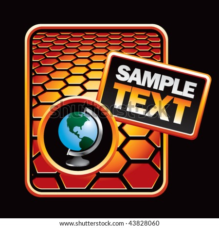 earth globe orange hexagon template