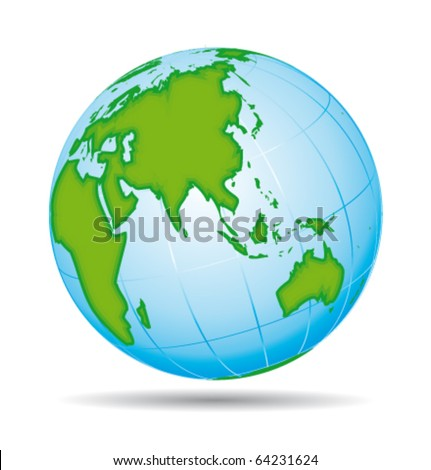 Earth globe planet icon. Asia and australia pacific view. Vector illustration. - stock vector
