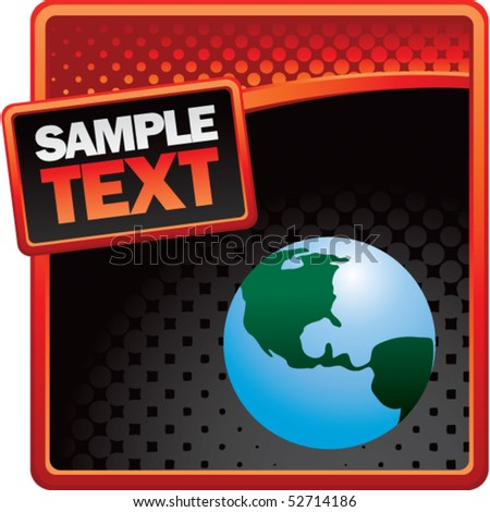 earth globe red and black halftone template