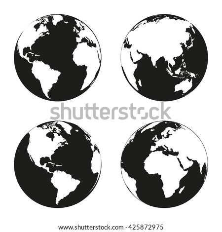 Earth globe revolved in four different stages. Vector illustration - stock vector