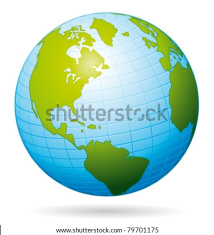 Earth globe vector icon. American view.