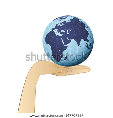 earth globe with africa on human palm vector illustration