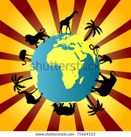 Earth globe with African animals around it - stock vector