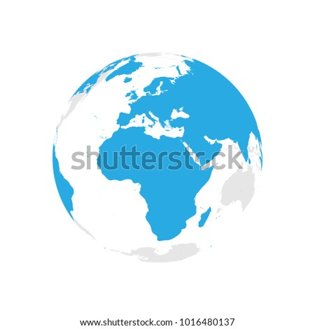 Earth globe blue world map focused stock vector 1016480137 earth globe with blue world map focused on africa and europe flat vector illustration gumiabroncs Choice Image