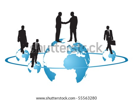 Earth globe with business mens - stock vector