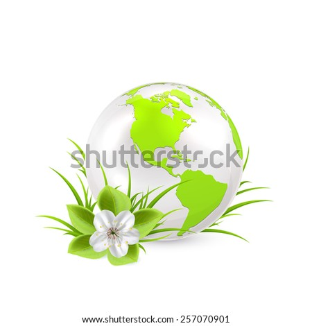 Earth globe with flower and grass isolated on white background, illustration. - stock vector