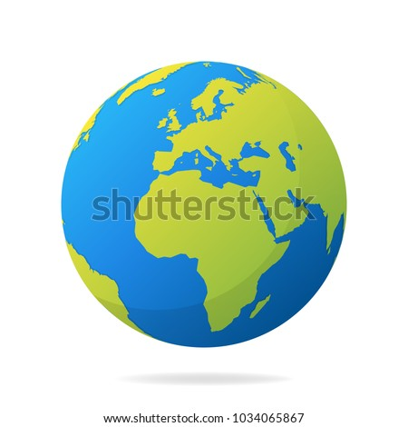 Earth globe green continents modern 3d stock vector 1034065867 earth globe with green continents modern 3d world map concept world map realistic blue gumiabroncs Image collections