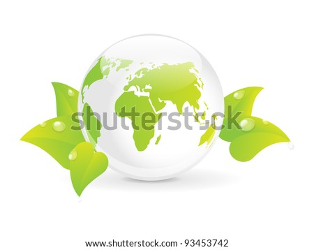Earth globe with green leaves - concept of ecology - stock vector
