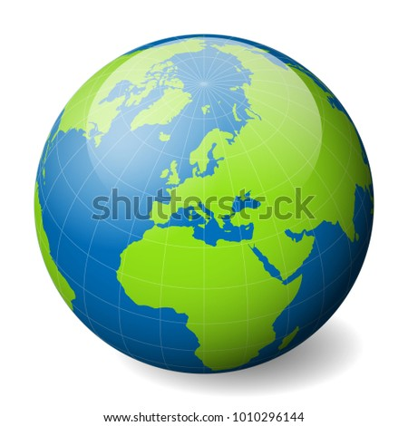 Earth globe green world map blue stock vector 1010296144 earth globe with green world map and blue seas and oceans focused on europe with gumiabroncs Image collections