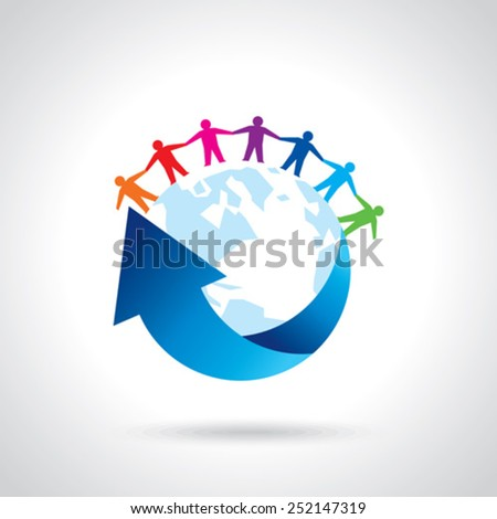Earth Globe with people teamwork concept  - stock vector