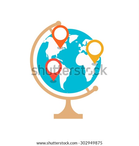 Earth globe with pin. Navigation concept, vector illustration - stock vector