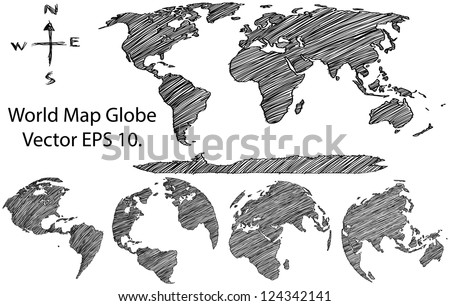 Earth Globe with World map Detail Vector Line Sketched Up Illustrator, EPS 10. - stock vector