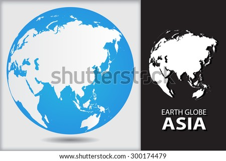 Earth globe.World globe icon with map of Asia.Vector illustration. - stock vector