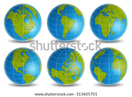 earth globe world map vector set