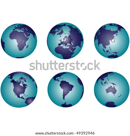 Earth globes representing all continents