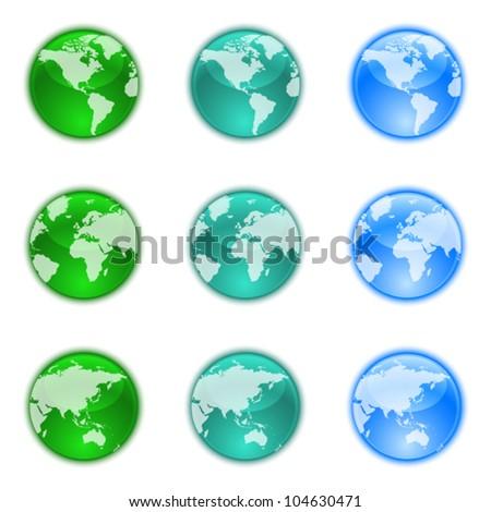 Earth globes set - stock vector