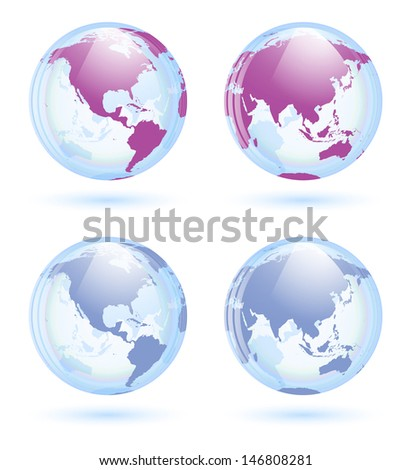 Earth globes set - stock vector