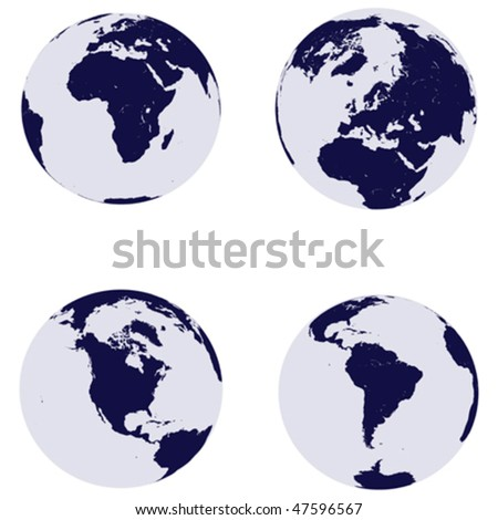 Earth globes with continents - stock vector