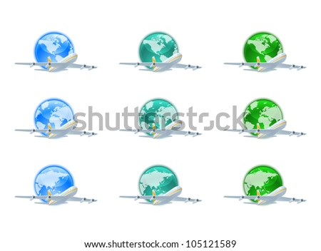 Earth globes with planes - stock vector