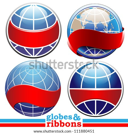 Earth globes with ribbons vector set