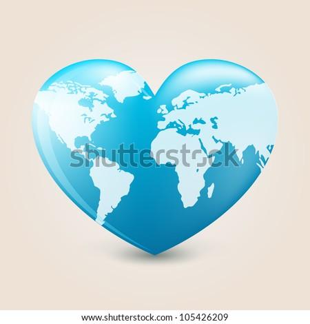 Earth heart - stock vector