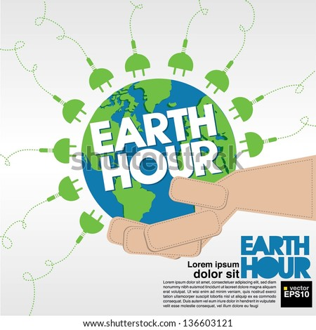 Earth Hour conceptual illustration vector.EPS10