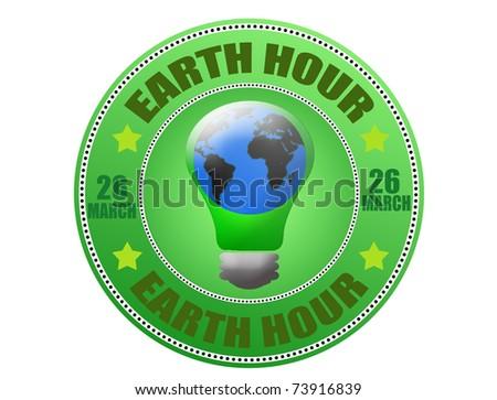 Earth hour green label, vector illustration - stock vector