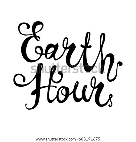 EARTH HOUR. Hand written flat vector lettering