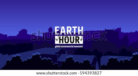 Earth Hour Movement Illustration. Horizontal wide banner of dark city view. Vector template for card or poster. The aim of the company is to prevent climate change and protect the planet