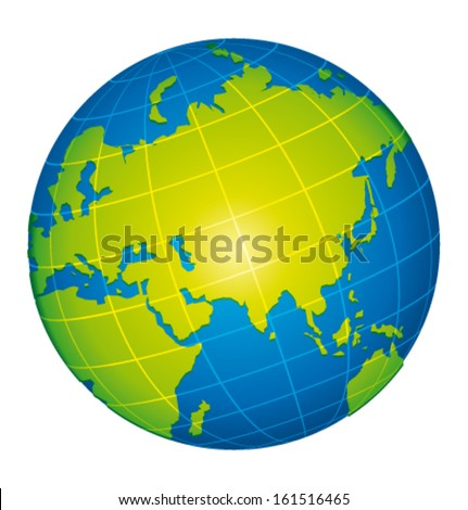 Earth icon. Asian and russian view. Vector illustration. - stock vector