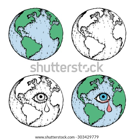 Earth icon. Crying earth. Earth with a sad for global warming and pollution concept. Hand-drawn vector .Earth icon doodles style - stock vector