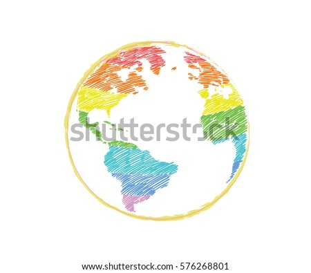 Earth icon handdrawn rainbow color on stock vector 576268801 earth icon hand drawn in rainbow color on white background world map in doodles gumiabroncs Gallery