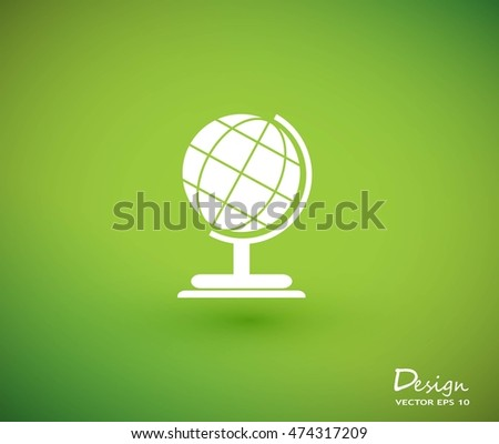 Earth Icon on green background.